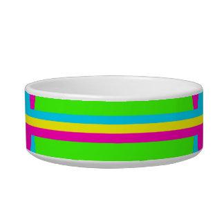 Summer Lime Green Hot Pink Teal Circles Stripes Cat Bowl