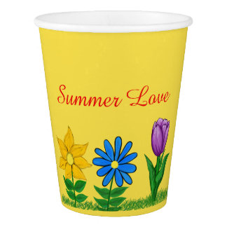Summer Love Yellow Blue Purple Floral Paper Cups