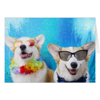 Summer Lovin' Corgis Greeting Cards & Envelopes