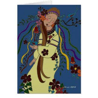 Summer Maiden Ukrainian Folk Art Card