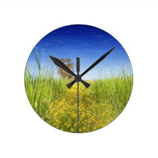 Summer Meadow Round Clock