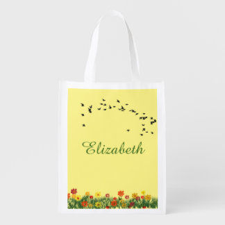 Summer meadow with a flock of flying swallows reusable grocery bag