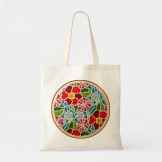 Summer memories hand embroidered round ornament budget tote bag