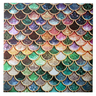 Summer Mermaid Green Glitter Scales- Mermaidscales Tile