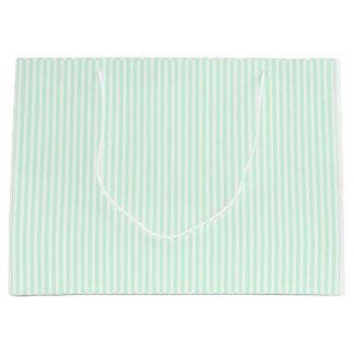 Summer Mint Pale Green Mint & White Stripe Large Gift Bag