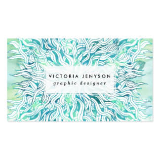 Summer modern blue turquoise watercolor seaweed pack of standard business cards