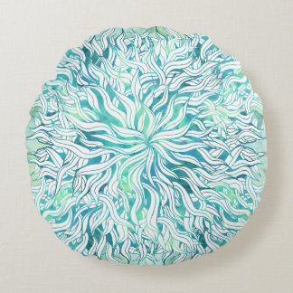 Summer modern blue turquoise watercolor seaweed round pillow