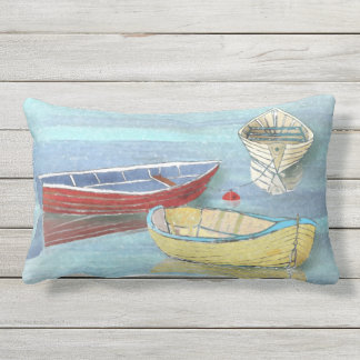 Summer Morning Boats at Rest Lumbar Pillow