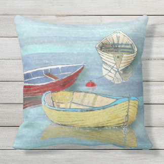 Summer Morning Boats at Rest Pillow