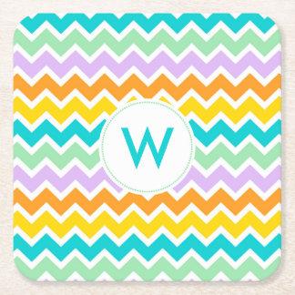 Summer Multi color chevron monogram coaster