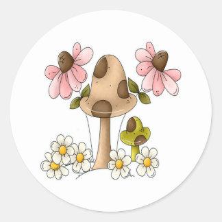 Summer Mushrooms Classic Round Sticker