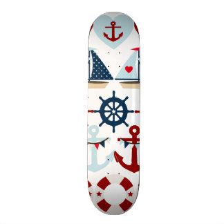 Summer Nautical Theme Anchors Sail Boats Helms Custom Skateboard