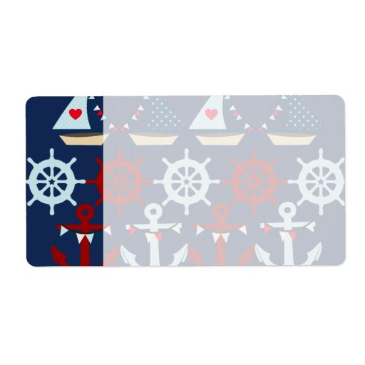 Summer Nautical Theme Anchors Sail Boats Helms Shipping Labels