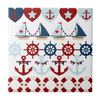 Summer Nautical Theme Anchors Sail Boats Helms Tile