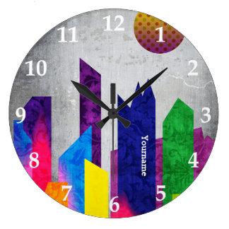 Summer Night City Colorful Trendy Flat Geometric Large Clock