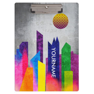 Summer Night City Colorful Trendy Urban Geometric Clipboard