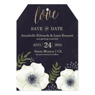 Summer Night Flowers Wedding Save the Date Card