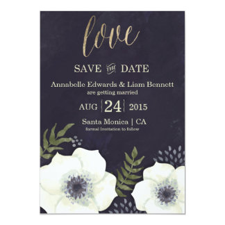 "Summer Night Flowers Wedding Save the Date Card 5"" X 7"" Invitation Card"