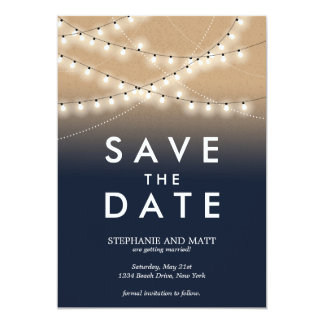 "Summer Night Lights Save the Date  | Weddings 5"" X 7"" Invitation Card"