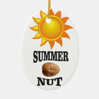 Summer nut in sun ceramic ornament