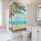 Summer Ocean Beach Palm Tree Watercolor Painting