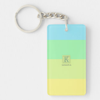 Summer Ocean Lime Color Palette Stripes Monogram Keychain