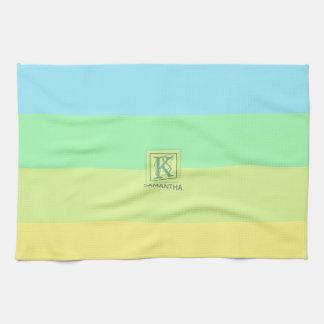 Summer Ocean Lime Color Palette Stripes Monogram Kitchen Towel