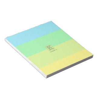 Summer Ocean Lime Color Palette Stripes Monogram Notepad