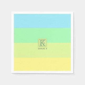 Summer Ocean Lime Color Palette Stripes Monogram Paper Napkin