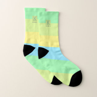 Summer Ocean Lime Color Palette Stripes Monogram Socks