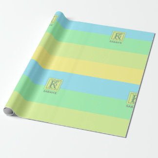 Summer Ocean Lime Color Palette Stripes Monogram Wrapping Paper