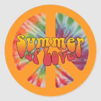 Summer of Love Peace Sign Classic Round Sticker