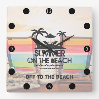 Summer on the  Beach | Personalized Square Wall Clock