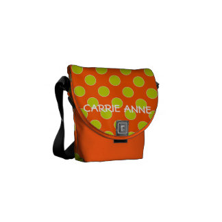 Summer Orange and Lime Green Polka Dot Messenger Bags