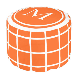 Summer Orange and White Lattice Monogram Pouf