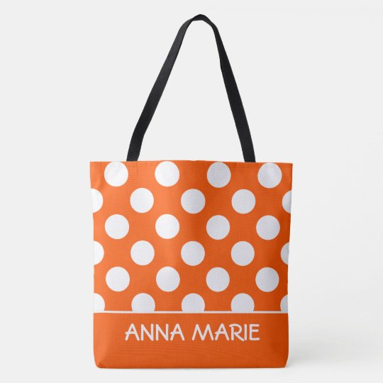 Summer Orange and White Polka Dot Personalized Tote Bag