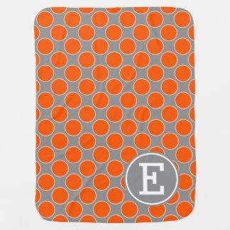 Summer Orange Dots on Dove Grey Monogram Baby Blanket