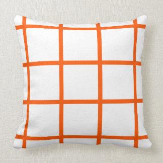 Summer Orange Grid Stripes on White Throw Pillow
