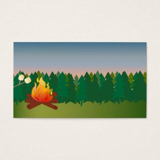 Summer Outdoor Camp Fire Business Card