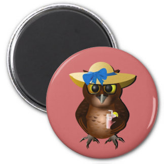 Summer Owl With Hat & Drink Magnet