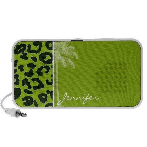 Summer Palm; Apple Green Leopard Animal Print Travelling Speaker