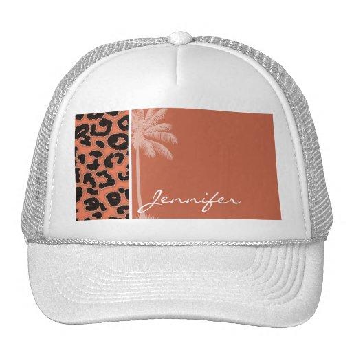 Summer Palm; Burnt Sienna Leopard Animal Print Trucker Hats