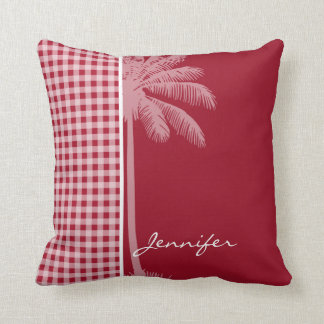 Summer Palm; Carmine Red Gingham; Checkered Throw Pillow