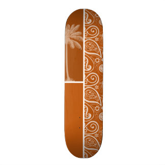 Summer Palm on Burnt Orange Paisley; Floral Custom Skateboard