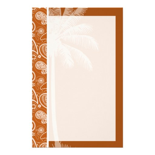 Summer Palm on Burnt Orange Paisley; Floral Custom Stationery