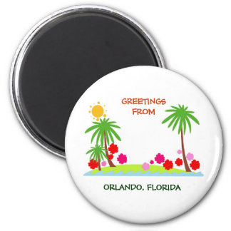 Summer--palm trees and sun, Greetings from Orlando Magnet