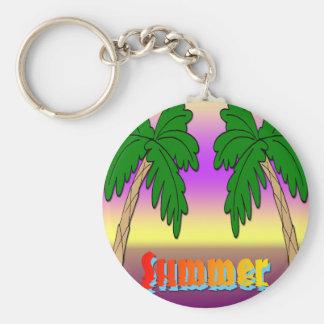 Summer Palm Trees Basic Round Button Keychain