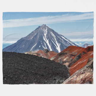 Summer panoramic volcanic landscape fleece blanket