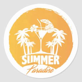 Summer Paradise  Palms And  Coctails Sticker
