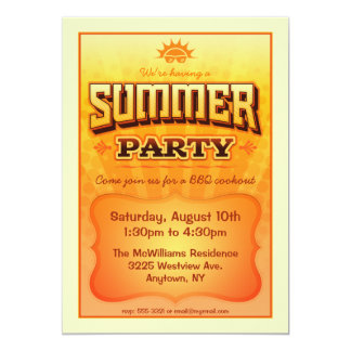 Summer Party Invite - Bright warm sunny  colors